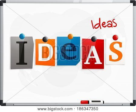 The word Ideas made from newspaper letters attached to a whiteboard or noticeboard with magnets. Marker pen.