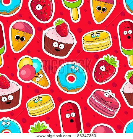 Cartoon sweets cute characters face isolated vector illustration. Funny sweets face icon seamless background. Cartoon face food emoji. Sweets emoticon. Funny food stickers.