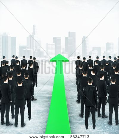 Businesspeople and upward green arrow on city background. Growth concept