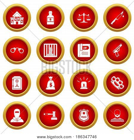 Crime and punishment icon red circle set isolated on white background