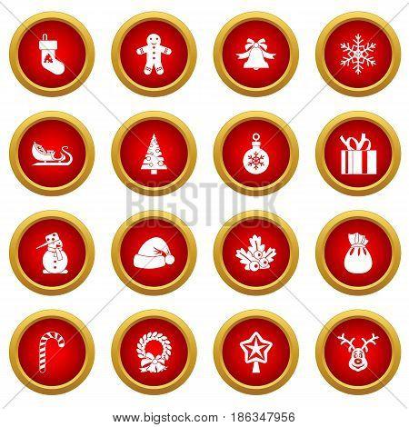 Christmas icon red circle set isolated on white background