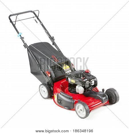 Lawnmower Isolated On White Background. Gas Lawn Mower. Red Grass-cutter. Garden Equipment. Garden P