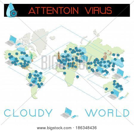 World threat of a virus attack vector template illustration in isometric view. Computers and world map concept.