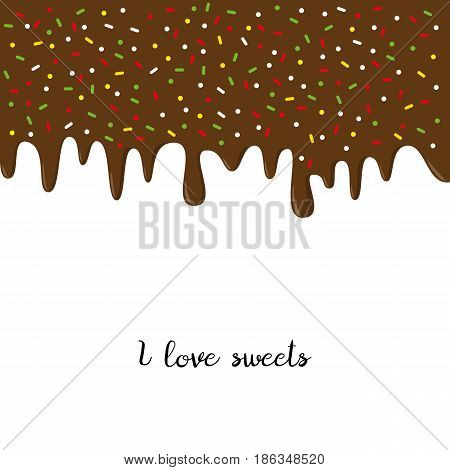 Dripping chocolate donut glaze background. Vector illustration.