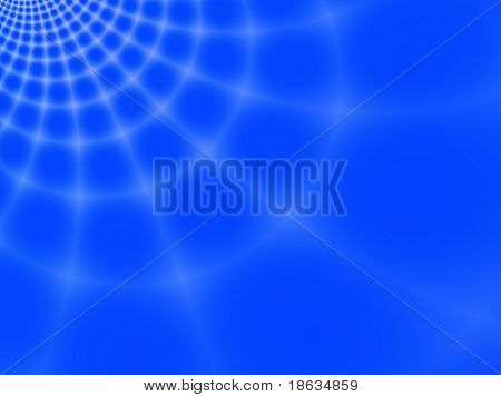 Fractal image of an abstract spider web against a blue sky.