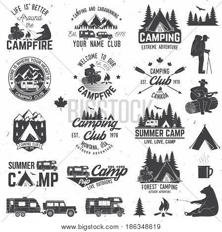 Summer camp with design elements. Vector illustration. Concept for shirt or logo, print, stamp or tee. Vintage typography design with rv trailer, camping tent, man with guitar and forest silhouette.