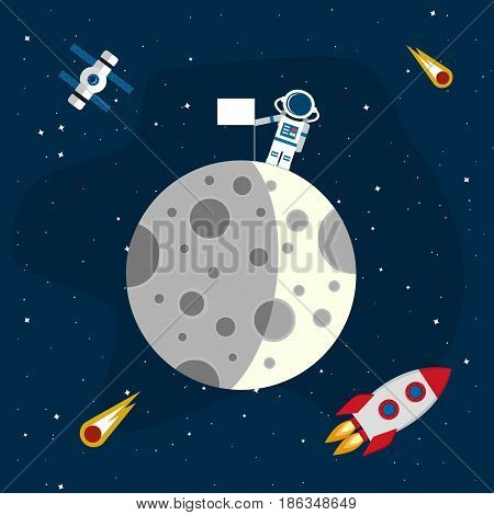 Moon in the background of an open space. An astronaut with flag on the surface of the moon. Vector illustration in a flat style