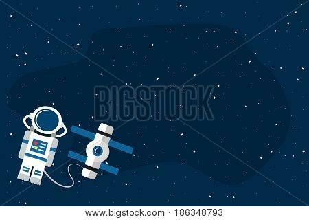 Astronaut and space station on open space background. Template for your text. Vector illustration in flat style