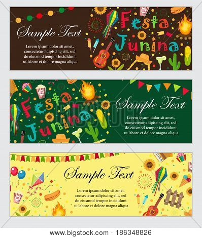 Festa Junina banner set with space for text. Brazilian Latin American festival template for your design with traditional symbols. Vector illustration