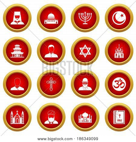 Religious symbol icon red circle set isolated on white background