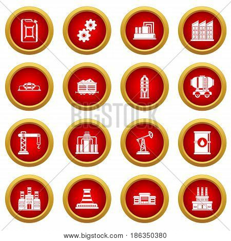 Industry icon red circle set isolated on white background