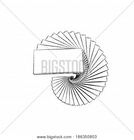 Spiral staircase. Isolated on white background. Sketch illustration.
