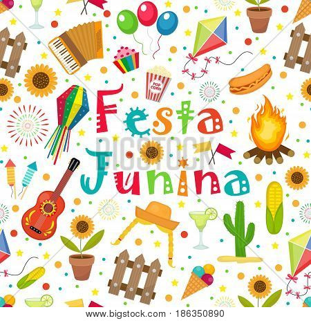 Festa Junina seamless pattern. Brazilian Latin American festival endless background. Repeating texture with traditional symbols. Vector illustration