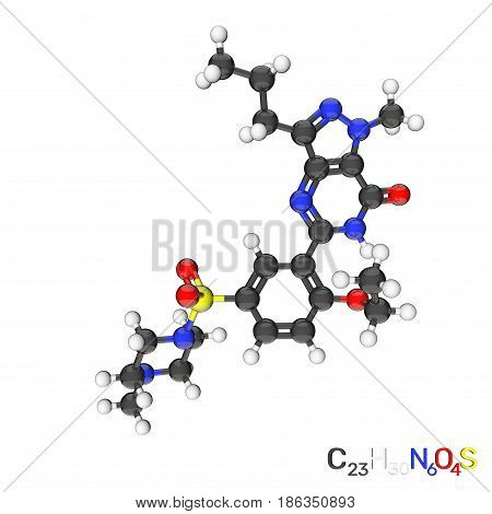 Viagra model molecule. Isolated on white background. 3D rendering illustration.