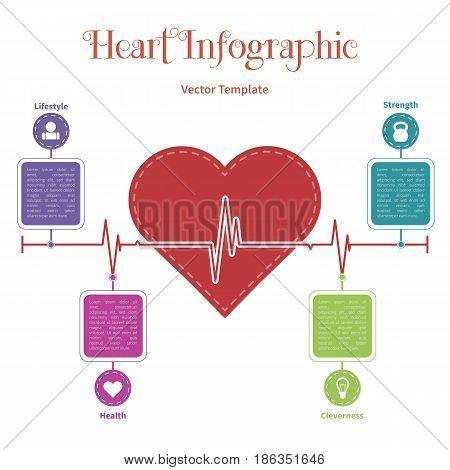 Vector infographic timeline template with heart. Concept on the white background.