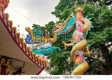Temple in Chinese style near popular street Khaosan road and Rambuttri Road district for back packer and budget tourist in Bangkok, Thailand