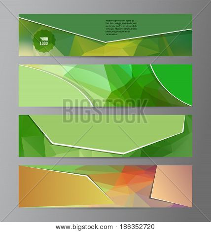 Horizontal Web Banner Triangle Mosaic Background Set Template04