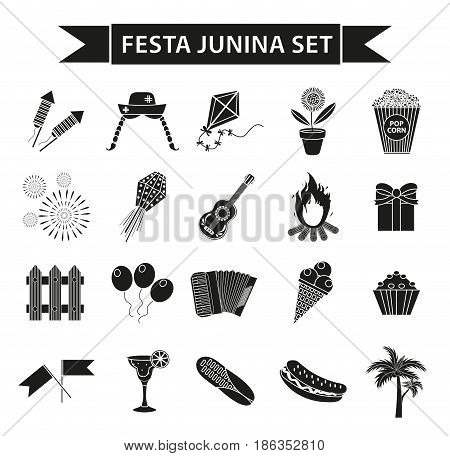 Festa Junina set icons, black silhouette style. Brazilian  festival, celebration of traditional symbols. Collection of design elements, isolated on white background. Vector illustration, clip-art