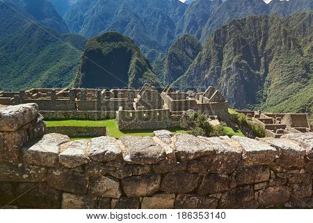 Ancient Inca City In Mountain Landscape