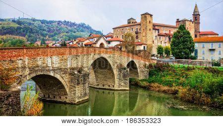 impressive medieval Bormida monastery and castle in regione Asti in Piemont. Italy
