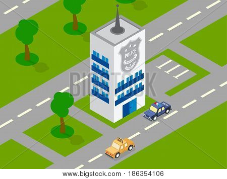 Police office car outdoor park trees modern urban parking landscape isometric vector illustration. Roads green park area police department building.