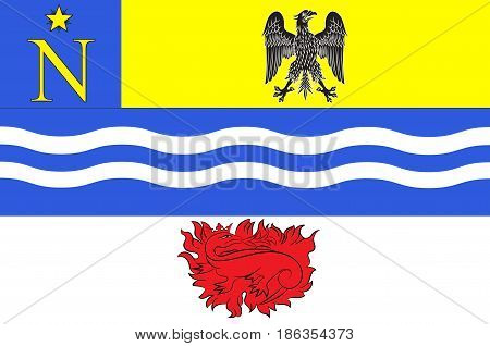 Flag of Fontainebleau is a sub-prefecture of the Seine-et-Marne department and it is the seat of the arrondissement of Fontainebleau France. Vector illustration