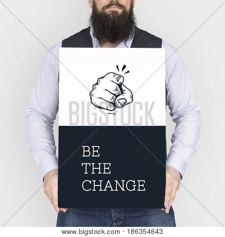 Illustration of pointing finger be the change revolution