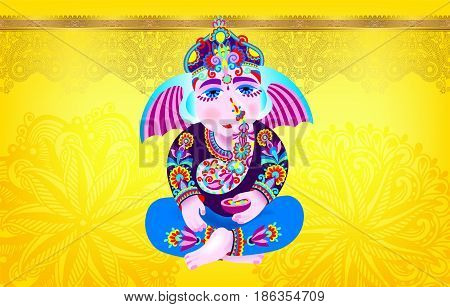 Lord Ganesha on yellow luxury background with place for your text, vector illustration for for indian Ganesh Chaturthi holiday