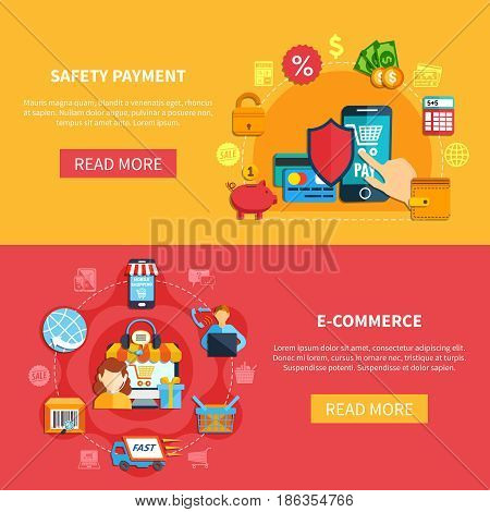 Two ecommerce banner set with safety payment and ecommerce headlines and buttons vector illustration