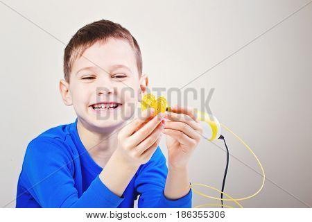 Boy using 3d pen. Creative, leisure, technology education concept
