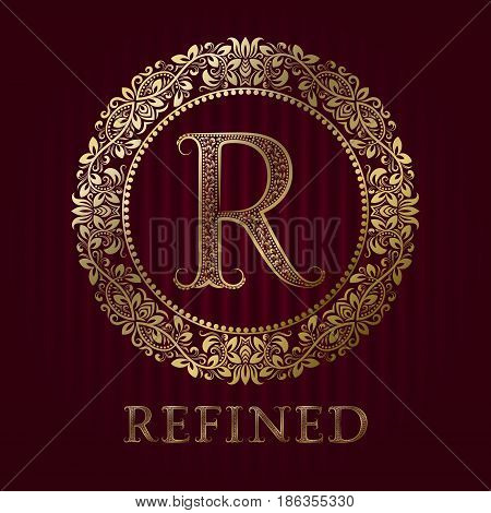 Golden logo template for refined boutique. Vector monogram.