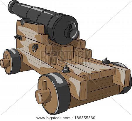 vintage black ship gun on a gun carriage