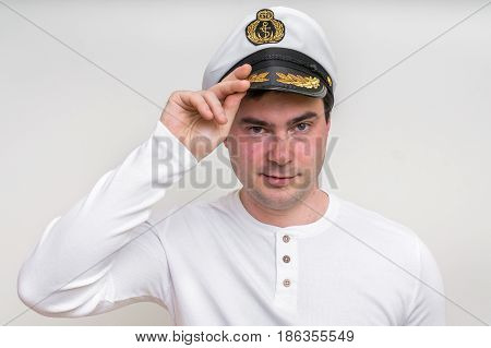 Captain With Sailor Cap Isolated On White