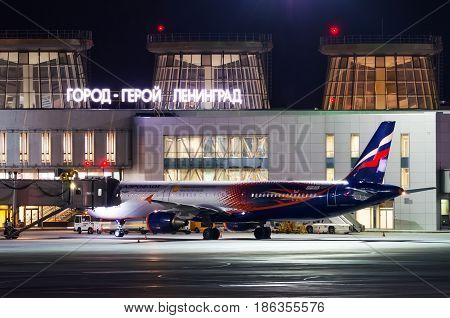 Night view of the airport and the plane of the airline Aeroflot. Russia Saint-Petersburg April 2017