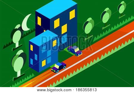 Isometric night city urban street view vector illustration. City landscape with moon light cars treets and buildings.