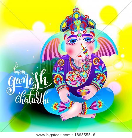 happy ganesh chaturthi beautiful greeting card or poster for indian festival with lord ganesha and hand lettering on abstract yellow green background, vector illustration