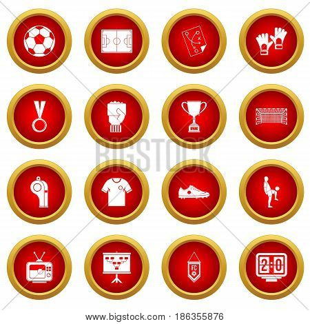Soccer football icon red circle set isolated on white background