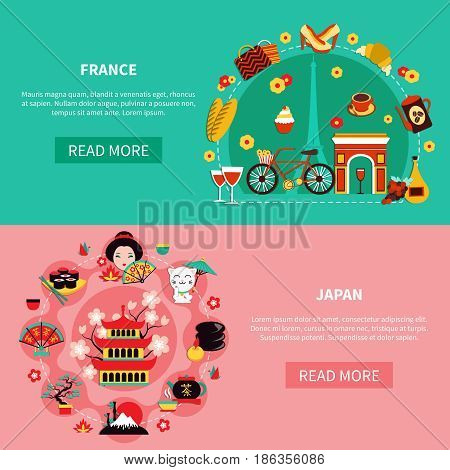France and japan horizontal banners with elements of national historic and modern culture flat vector illustration