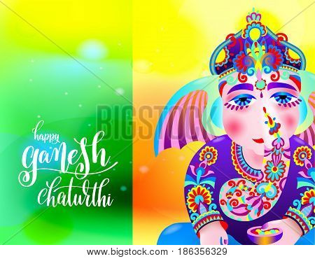 happy ganesh chaturthi beautiful greeting card or poster for indian festival with lord ganesha and hand lettering on abstract green yellow orange background, vector illustration