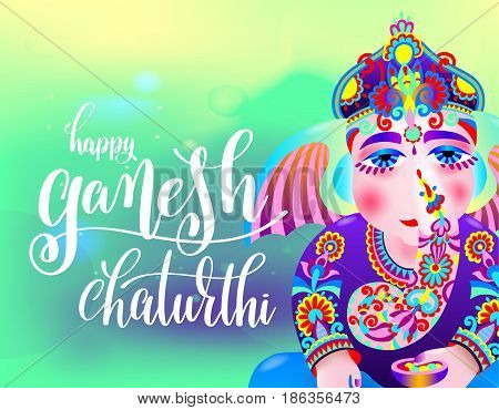 happy ganesh chaturthi beautiful greeting card or poster for indian festival with lord ganesha and hand lettering on abstract green yellow background, vector illustratio