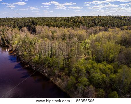 Drone Image. Aerial View Of Rural Area