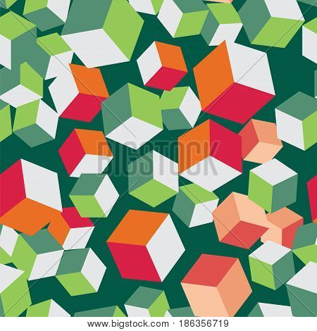 Chaotic colorful cube seamless pattern. Virtual Block endless repeat clean background vector illustration.