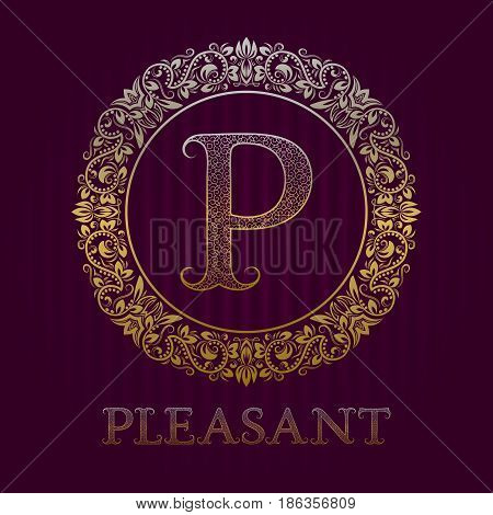 Golden logo template for pleasant boutique. Vector monogram.