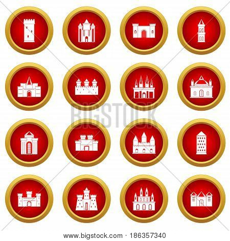 Towers and castles icon red circle set isolated on white background