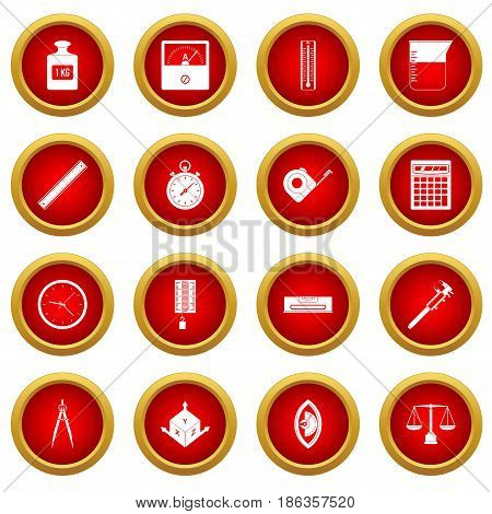 Measure precision icon red circle set isolated on white background