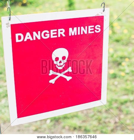 Warning Sign - Danger Mines On A Forest