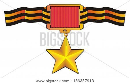 golden medal star hading on the long stripped ribbon