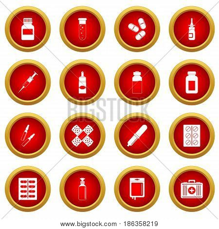 Different drugs icon red circle set isolated on white background