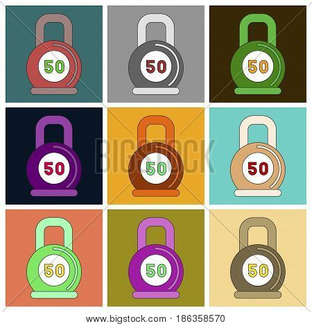 Set of Icons in flat design Weight