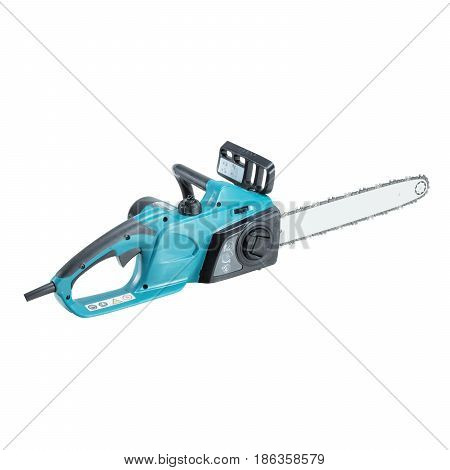 Сhainsaw Isolated on White Background. Blue Electric Chain Saw. Garden Equipment. Garden Power Tools